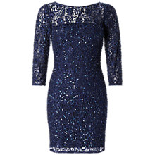 Buy Aidan Mattox Long Sleeve Beaded Cocktail Dress, Navy Online at johnlewis.com