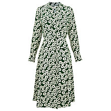 Buy Whistles Daisy Print Silk Dress, Green Online at johnlewis.com