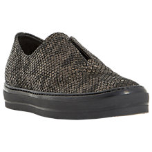 Buy Dune Black Emmy Leather Slip On Plimsolls, Black Online at johnlewis.com