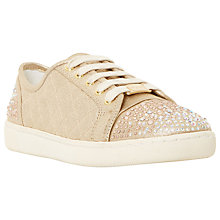 Buy Dune Edgeware Mixed Material Round Toe Trainer, Gold Embellished Online at johnlewis.com