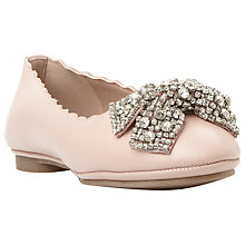 Buy Dune Harra Diamante Bow Pumps, Nude Leather Online at johnlewis.com
