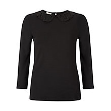 Buy Hobbs Clarice Lace Collar Top, Black Online at johnlewis.com