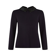 Buy Hobbs Evie Sequin Collar Sweater, Navy Black Online at johnlewis.com
