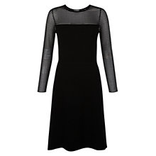 Buy Hobbs Sheer Stripe Dress, Black Online at johnlewis.com