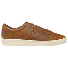 Buy Fred Perry Spencer Waxed Leather Lace-Up Trainers, Oak Tan Online at johnlewis.com