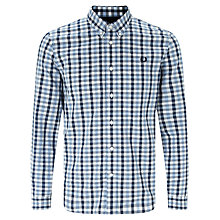 Buy Fred Perry Herringbone Gingham Shirt, Glacier Online at johnlewis.com