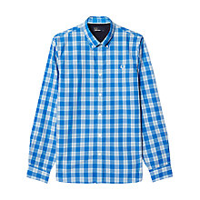 Buy Fred Perry Tartan Gingham Long Sleeve Shirt, Prince Blue Online at johnlewis.com