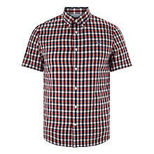 Buy Fred Perry Herringbone Gingham Short Sleeve Shirt, Deep Red Online at johnlewis.com