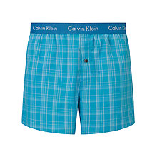 Buy Calvin Klein Woven Cotton Check Boxer Shorts, Blue Online at johnlewis.com