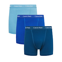 Buy Calvin Klein Solid Trunks, Pack of 3, Blue Online at johnlewis.com