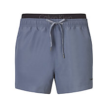 Buy Calvin Klein Double Waistband Swim Shorts, Grey Online at johnlewis.com