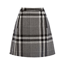 Buy Oasis Pow Check Hattie Skirt, Black/White Online at johnlewis.com