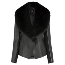 Buy Oasis Faux Fur Collar Leather Drape Jacket, Black Online at johnlewis.com