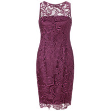 Buy Adrianna Papell Illusion Lace Dress, Mulberry Online at johnlewis.com