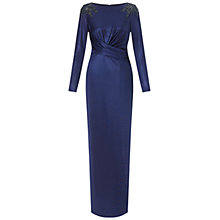 Buy Adrianna Papell Twist Front Glazed Gown, Navy Online at johnlewis.com