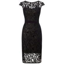 Buy Adrianna Papell Metallic Lace Sheath Dress, Black/Gold Online at johnlewis.com