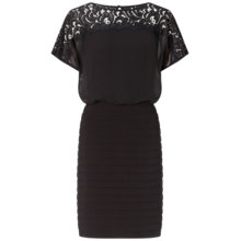 Buy Adrianna Papell Illusion Lace Kimono Sleeve Dress, Black Online at johnlewis.com