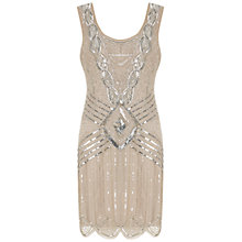 Buy Adrianna Papell Sleeveless Beaded Cocktail Dress, Grey Online at johnlewis.com