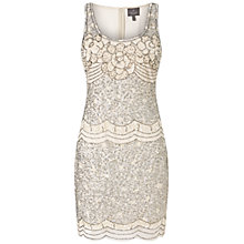 Buy Adrianna Papell Sleeveless Beaded Cocktail Dress, Cream Online at johnlewis.com