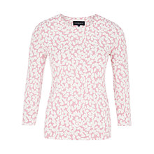Buy Viyella Leaf Print Jersey Top, Rose Online at johnlewis.com