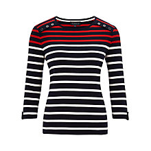Buy Viyella Breton Stripe Jersey Top, Red Online at johnlewis.com