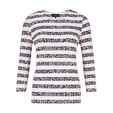 Buy Viyella Ditsy Stripe Jersey Top, Heather Online at johnlewis.com