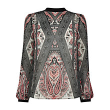Buy Oasis Textured Scarf Print Top, Multi Online at johnlewis.com