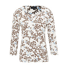 Buy Viyella Petite Leaf Print Jersey Top, Mink Online at johnlewis.com