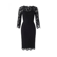 Buy Jigsaw Three Quarter Sleeve Lace Dress, Black Online at johnlewis.com