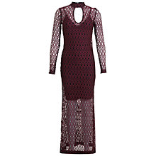 Buy Miss Selfridge Lace Maxi Dress, Burgundy Online at johnlewis.com
