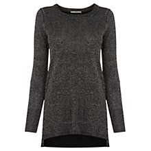 Buy Oasis Crew Neck Split Hem Tunic Dress, Black Online at johnlewis.com
