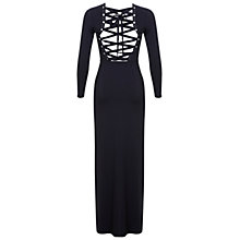 Buy Miss Selfridge Lace Up Back Maxi Dress, Navy Online at johnlewis.com