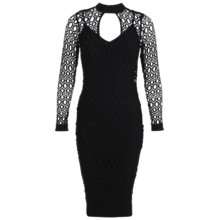 Buy Miss Selfridge Lace Bodycon Midi Dress, Black Online at johnlewis.com