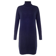 Buy Jigsaw Roll Neck Raglan Knit Dress, Navy Online at johnlewis.com