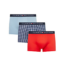 Buy Tommy Hilfiger Check and Plain Trunks, Pack of 3, Red/Blue Online at johnlewis.com