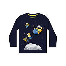 Buy John Lewis Boys' Minions Long Sleeve Space T-Shirt, Navy Online at johnlewis.com