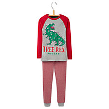 Buy Little Joule Boys' Snooze Tree-Rex Pyjama Set, Red/Grey Online at johnlewis.com