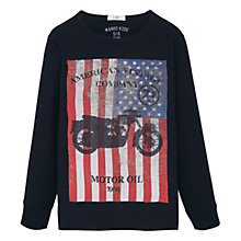 Buy Mango Kids Boys' Flag Print T-Shirt, Black Online at johnlewis.com
