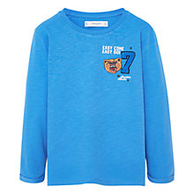 Buy Mango Kids Boys' Number Patch T-Shirt, Turquoise Online at johnlewis.com