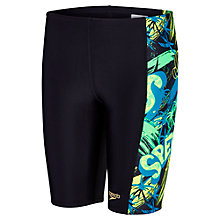 Buy Speedo Boys' Jumpin Fun Allover Panel Jammers, Black/Green Online at johnlewis.com