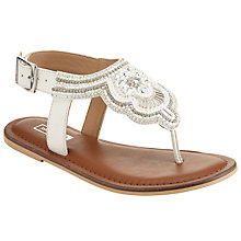 Buy John Lewis Children's Silver Beaded Leather Buckle Sandals, White Online at johnlewis.com