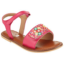 Buy John Lewis Children's Penny Beaded Leather Rip-Tape Sandals, Multi Online at johnlewis.com