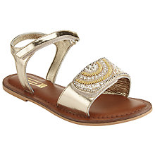 Buy John Lewis Children's Penny Pearl Leather Rip-Tape Sandals, Gold Online at johnlewis.com