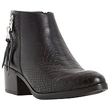 Buy Dune Pipinn Block Heeled Ankle Boots, Black Leather Online at johnlewis.com