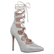 Buy Carvela Gable Lace Up High Heeled Stiletto Court Shoes, Silver Online at johnlewis.com
