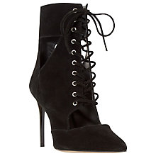 Buy Dune Olea Lace Up Cut Away Ankle Boots, Black Suede Online at johnlewis.com