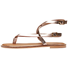 Buy Selected Femme Alessa Cross Strap Toe Post Sandals, Silver Peony Leather Online at johnlewis.com