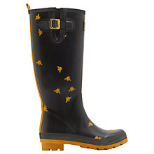 Buy Joules Bee Print Wellington Boots, Black Online at johnlewis.com