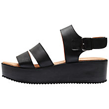 Buy Selected Femme Dani Leather Wedge Heeled Platform Sandals, Black Online at johnlewis.com