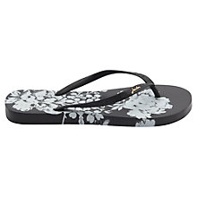 Buy Joules Floral Print Flip Flops, Black Online at johnlewis.com